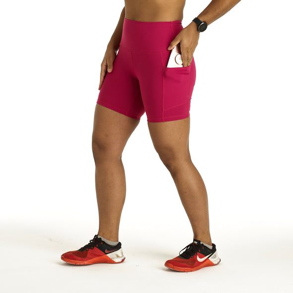 "Halo Flex 6"" Shorts with Pockets in Raspberry"