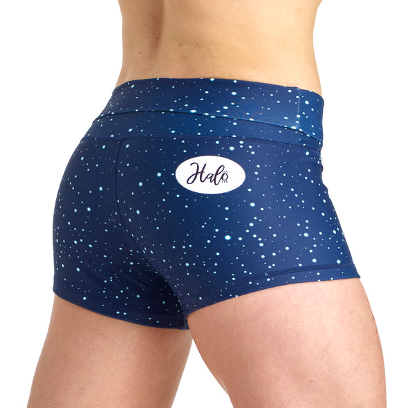 PRE ORDER - Halo Starry Night High Rise Roll Down Booty Shorts - PRE ORDER