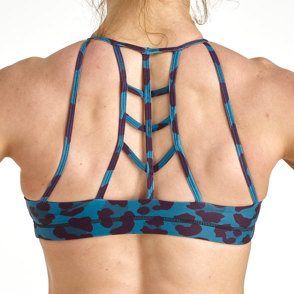 Halo Teal Leopard High Neck Sports Bra