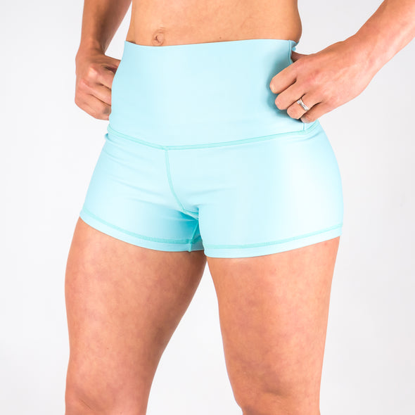 PRE ORDER - Halo Turquoise High Rise Roll Down Booty Shorts - PRE ORDER