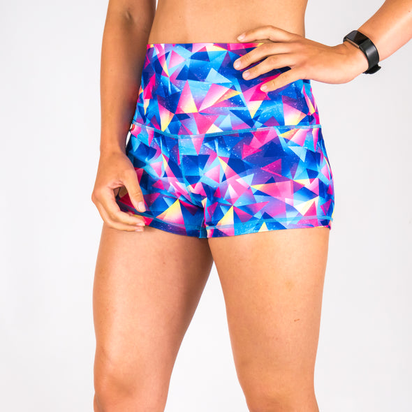 Halo Geometric High Rise Roll Down Booty Shorts
