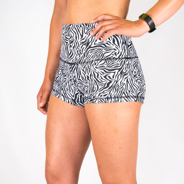 Halo Children's Zebra High Rise Roll Down Booty Shorts