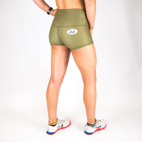 Halo Olive High Rise Roll Down Booty Shorts