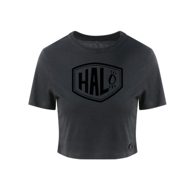 Halo Stealth Shield Heather Black Crop Tee