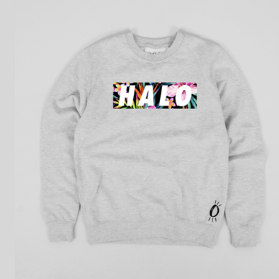 Built Up North x Halo Hibiscus Heather Grey Crew Neck Sweatshirt