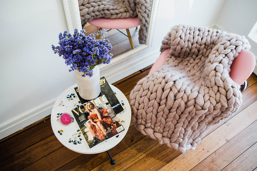 LILAC CHUNKY KNIT THROW