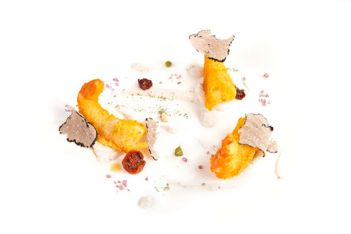 Breaded Prawns in Panura Saffron with Vegan Mayonnaise  &  Black Truffle