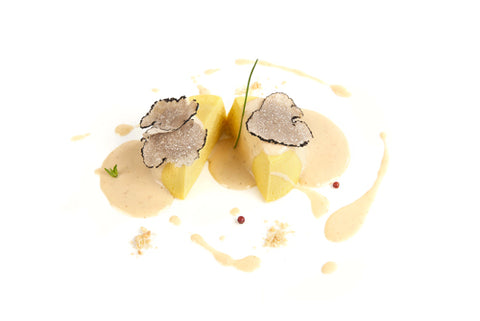 potato flan with black truffle puree