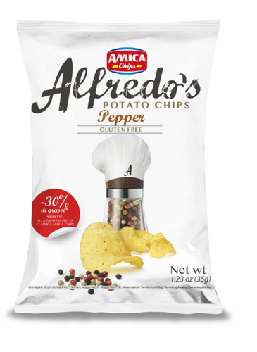 Amica Chips Alfredo's Pepper Potato Chips Pack of 12 (1.23 oz each)