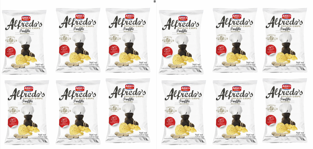 Alfredo's Black Truffle Potato Chips Pack of 12 (1.23 oz each) - Tita Italia