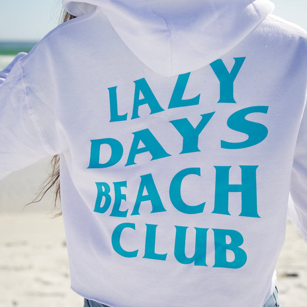 Womans Lazy Days Beach Club Crop Top Sweatshirt - New