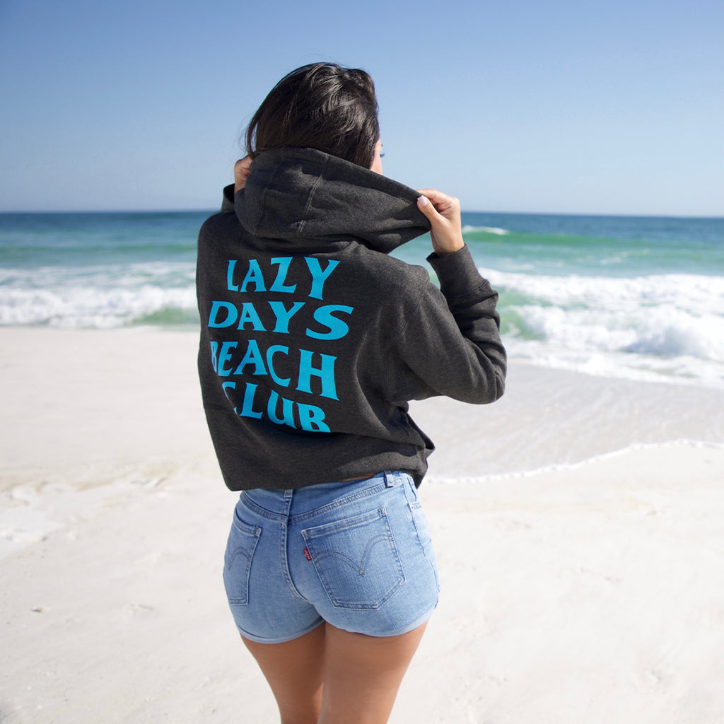 Men & Womans Lazy Days Beach Club Charcoal Sweatshirt Hoodie - New