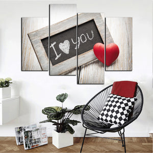 4 Panel I Love You Canvas Prints Oil Painting Wall Decor Art Picture-038 (1)