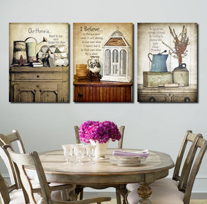 3 Piece Vintage Still Life Wall Print Painting Canvas Art Decor-025 (1)
