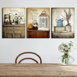 3 Piece Vintage Still Life Wall Print Painting Canvas Art Decor-025 (2)