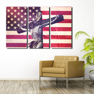 3 Panel Canvas Printed America Flag Jesus Cross Painting-105 (1)