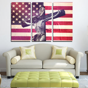 3 Panel Canvas Printed America Flag Jesus Cross Painting-105 (2)