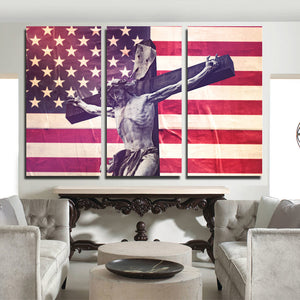 3 Panel Canvas Printed America Flag Jesus Cross Painting-105 (3)