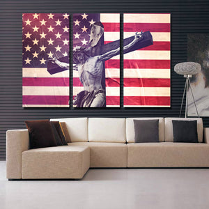 3 Panel Canvas Printed America Flag Jesus Cross Painting-105 (4)