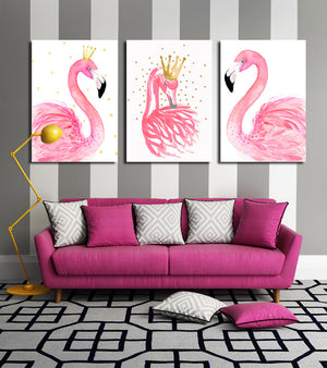 3 Panel Kawaii Flamingo Bird Wall Art Canvas Prints Animal Painting-020 (1)