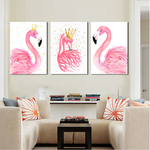 3 Panel Kawaii Flamingo Bird Wall Art Canvas Prints Animal Painting-020 (2)