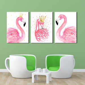 3 Panel Kawaii Flamingo Bird Wall Art Canvas Prints Animal Painting-020 (3)