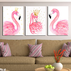 3 Panel Kawaii Flamingo Bird Wall Art Canvas Prints Animal Painting-020 (4)