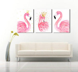 3 Panel Kawaii Flamingo Bird Wall Art Canvas Prints Animal Painting-020 (5)