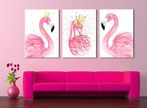 3 Panel Kawaii Flamingo Bird Wall Art Canvas Prints Animal Painting-020 (6)
