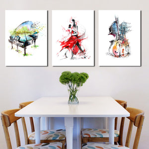 3 Panel Piano Guitar Dancing Woman Poster Canvas Print-027 (1)