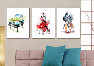 3 Panel Piano Guitar Dancing Woman Poster Canvas Print-027 (2)