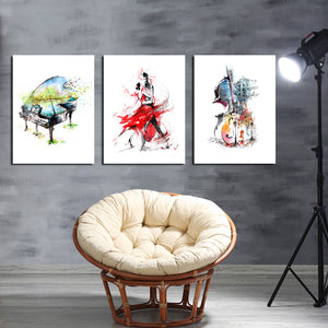 3 Panel Piano Guitar Dancing Woman Poster Canvas Print-027 (4)