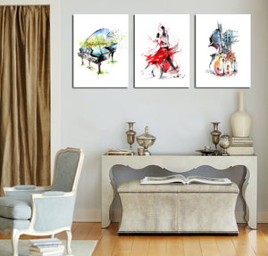 3 Panel Piano Guitar Dancing Woman Poster Canvas Print-027 (5)