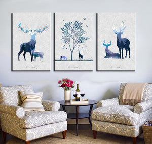 3 Piece Abstract Deer Print Canvas Painting-014 (1)