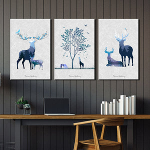 3 Piece Abstract Deer Print Canvas Painting-014 (2)