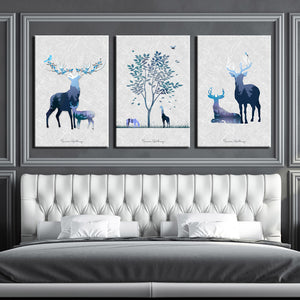 3 Piece Abstract Deer Print Canvas Painting-014 (3)