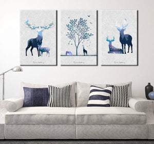 3 Piece Abstract Deer Print Canvas Painting-014 (5)