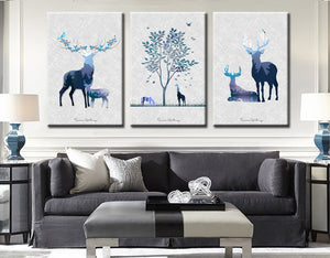 3 Piece Abstract Deer Print Canvas Painting-014 (6)