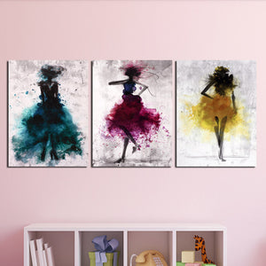 3 Piece Abstract Fashion Women Wall Canvas Prints-012 (1)