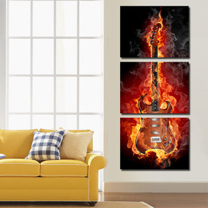 3 Piece Burning Rock Guitar Music Canvas Art Print Picture Poster-091 (1)