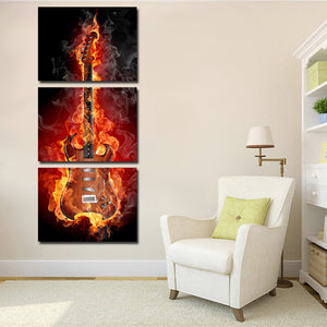 3 Piece Burning Rock Guitar Music Canvas Art Print Picture Poster-091 (2)