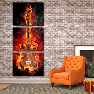 3 Piece Burning Rock Guitar Music Canvas Art Print Picture Poster-091 (3)