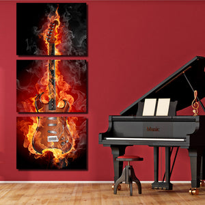 3 Piece Burning Rock Guitar Music Canvas Art Print Picture Poster-091 (4)