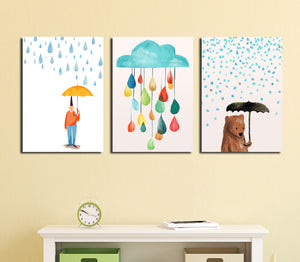 3 Piece Cartoon Rain Bear Prints Canvas Painting-019 (3)