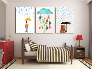 3 Piece Cartoon Rain Bear Prints Canvas Painting-019 (4)
