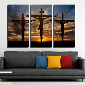 3 Piece Cross Sunset Canvas Prints Painting Poster-097 (1)
