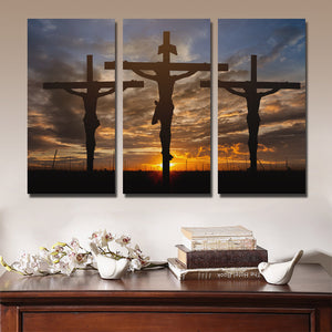 3 Piece Cross Sunset Canvas Prints Painting Poster-097 (2)