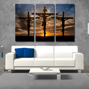 3 Piece Cross Sunset Canvas Prints Painting Poster-097 (3)
