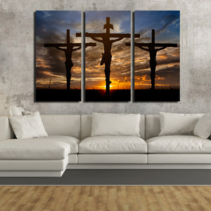 3 Piece Cross Sunset Canvas Prints Painting Poster-097 (4)