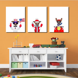 3 Piece Cute Dog Pet American Flag Canvas Art Prints-016 (1)